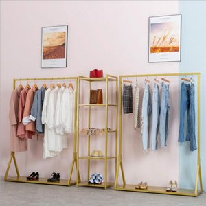 Clothes rack Women's and men's clothing store floor rack display side hanging combined shelf with plate clothing store display rack