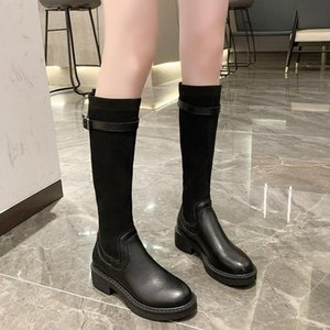 Bottes Med Heel Bottes Marque Chaussures Femme Rond Toile Hiver Chaussures Plateforme Bottes-Femmes Bottillons Mesdames Sexy Cuisse High High