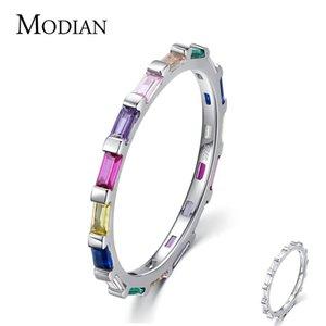 Modian Authentic 925 Sterling Silver Rainbow Cut Cut Rectangle CZ Finger Anillos Para Mujer Banda De Boda De Compromiso Joyería