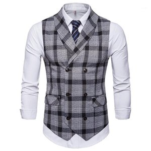 New Classic Plaid Suit Vest Men Slim Fit Double Breasted Vest Waistcoat Mens Business Wedding Tuxedo Gilet Homme1