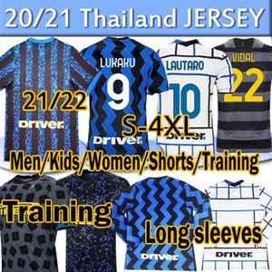 4xl 2021 2022 Inter Lukaku Lautaro Alexis Soccer Jersey 20 21 Milan Vidal Barella Men Mujeres Kits Kits Mangas largas Camisetas de fútbol de entrenamiento