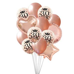 Сторона украшения розовая золотая корона 30 40 50 лет шарики дня рождения 30-й 40-й 50-й сердечный звездой счастливы