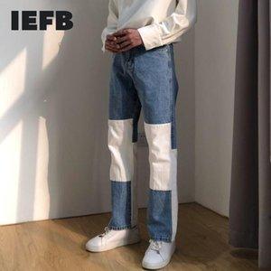 IEFB / autunno nuovo bianco di colore blu blocco patchwork Etero Jeans 2020 Fashion Streetwear allentati di Hip Hop pantaloni del denim