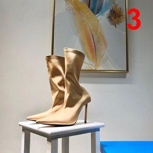 Vente Hot Designer Femmes Sock bottes luxe abricot noir marron stretch rouge rose vert talons hauts Bottes de qualité supérieure avec la taille de boîte 35-40