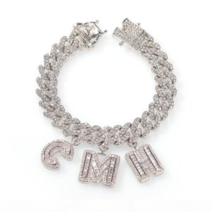 Custom Name Baguette Letters With Cuban Link Chain Bracelet Micro Pave Cubic Zircon Iced Out Hip Hop Jewelry