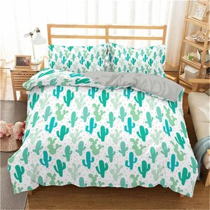 Homesky Cactus Bedding Set Plant Bed Linen Sets Bedroom Home Duvet Cover Set Bedding Sets Pillowcase Full King Single Queen