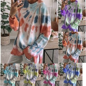 2020 Tie-Dye Sweater Womens European and American Autumn New Style Long Sleeve Street Style round Neck Pullover Womens 79052