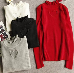 Love Heart Hollow out Bottoming Shirt Knitted Sweaters Women Full sleeve ruffles neck Drop Shipping High Quality