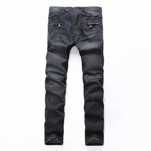 Männer Jeans Herren Schwarz Vintage Hellblaue Löcher Rissene Biker Für Motorrad Casual Falten Torn Stretch Denim Slim Hosen Man1
