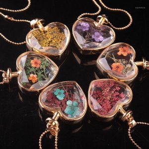 Fashion Heart Shaped Glass Perfume Bottle True Dried Flower Pendant Necklace Gold Round Bead Chain Women Sweater Chain Jewelry1