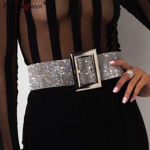 Women Full Rhinestones Crystal Wide Belt Fashion Luxury Diamond Shiny Bride Night Club Waist Belts T200113