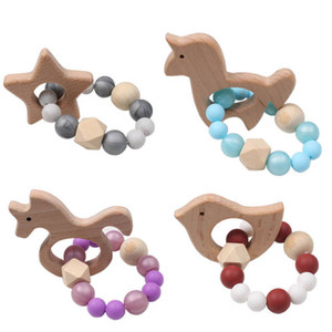 Unicorn Natural Wooden Ring Teethers silicone teething beads Beaded Soother Cartoon newborn teether baby toys Infant Feeding B3378