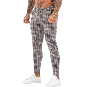 Erkekler Pantolon Gingtto Erkekler Chinos Pantolon Sıska Süper Streç Chino Slim Fit Erkek Rahat Pantolon Ekose Elastik Bel Londra Moda ZM3101
