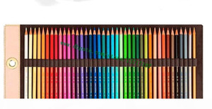 Top Grade Brown Mono Flower Letter Canvas Coated Real Leather 40 Color Pencil Case Set Roll Including Coloring Pens
