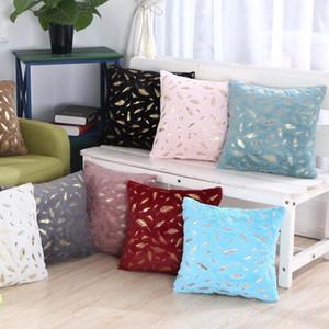 Bronzing Leaves Series 43x43cm Square Cushion Cover Soft Short Plush Sofa Chair Seat Pillowcase Home Decor Pillow Cover
