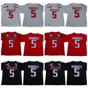 # 5 Patrick Mahomes II NCAA Texas Tech Football Football Jersey Jersey Men Football Jersey Black Rouge Blanc Livraison Gratuite Taille S à 3XL