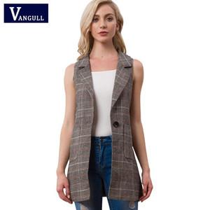 Vangull Women elegant office lady pocket coat sleeveless vests New Fashion jacket outwear casual brand WaistCoat colete feminino