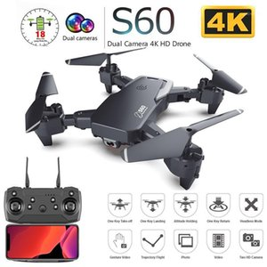 S60 Drone with Dual Camera 4K HD WiFi FPV Wide Angle Optical Flow Professional Foldable RC Quadcopter Helicopter Kid Toys VS E581