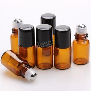 Liquid Oil Perfume Empty Bottles 1ml 2ml 3ml Glass Perfume Bottles With Stainless Steel Roller Ball Roll On Ball Perfume Bottle BH4449 TQQ