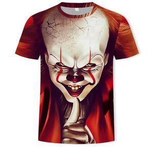 Selling hot clown 3D printing blood red Calvert smile clown face men's shirt 3D short sleeve funny T Shirt Top