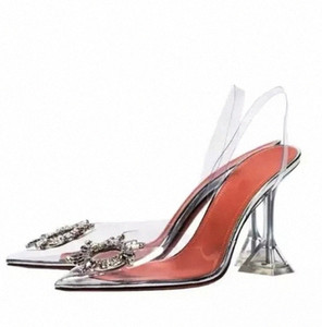 Transparent PVC Sandals Women Pointed Clear Crystal Cup High Heel Stilettos Sexy Pumps Summer Shoes Peep Toe Women Pumps Size 43 #qj9W