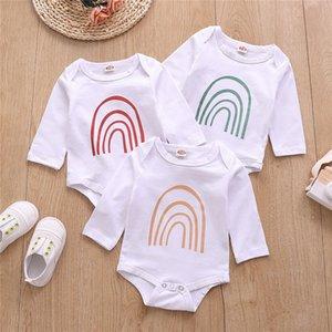 Enfants Coton Printemps Romper Fashion Kids Rainbow Jumpsuit à manches longues Bébé garçons Girls Casual Imprimé Onesie Montez Vêtements C6796