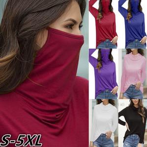 Outono rosto mulheres moda inverno mascarar gola alta T-shirt de manga comprida cor sólida pulôver Blusas shirt Tops Casual Top Tee CZ1019B