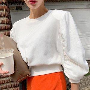 Bgteever moda chic o-cuello mujeres sudaderas elegante linterna manga suelta femenina colaboración 2020 otoño señoras jerseys1