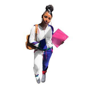 خليط اللون على النقيض من إمرأة رياضية الوقوف الرقبة خريف وشتاء كم طويل عارضة ملابس للسيدات 2 قطعة