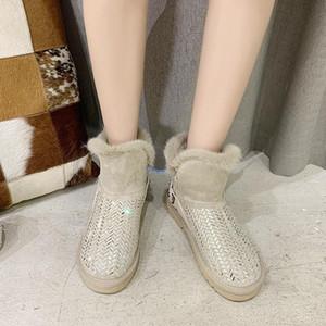 Kristallschneestiefel Damenschuhe aus Wildleder Ankle Boots Winter warme Schuhe Casual Plüsch flache Plattform Schwarz Beige Botas Mujer