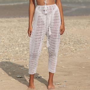 8 Color Hand Crochet Sexy See Through Beach Lounge Pants Fashion Fringe Sheer Long Wide Beachwear Trousers Hot pants