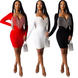 Vestido Mulheres Tassel manga comprida Hips Slim Fit Club Party Dresses Autumn Lady Bodycon 2020 Nova Vestidos De Mujer Roupa Africano