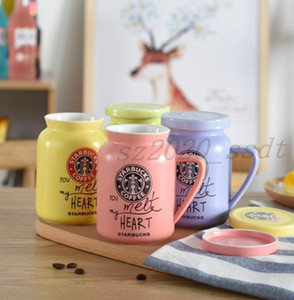 The latest 14.2OZ Starbucks ceramic cup cartoon water cup couple creative mug milk glass, comes with a Starbucks lid, free shipping