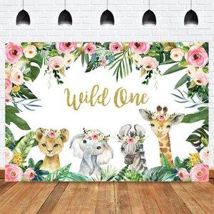 Animal salvaje una jungla fiesta de cumpleaños foto fondo recién nacido bebé ducha banner fotografía fondo rosa flor verde hojas1