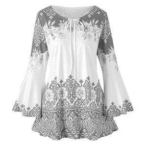 38# 2020 Fashion Womens Sleeve Crew Neck Plus Size Printed Flare Sleeve Tops Blouses Keyhole Casual Fashion shirts Sleeve