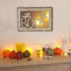 Halloween creativo appeso a led luce decorazione in legno infestato casa luna pipistrello modello rettangolare laser cavità a sospensione ornamenti1