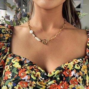 Punk Imitation Baroque Perle Choker Halskette Kragenrechnung Gold Herz Lasso Anhänger Halsketten Für Frauen Schmuck Großhandel1