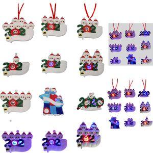 Personalized Christmas Ornaments 2020 Quarantine LED Ornaments Christmas Tree Decoration 2021 Led Light Snowman DIY Family Greeting Pendant