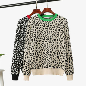 2020 korean jumper Autumn winter Knitted Sweater Women oversized sweaters female leopard jacquard fashion wool blends pullover