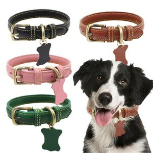 PU Leather Dog Collar with Hangtag Adjustable Pet Collars Solid Color Dog Neck Strap Pet Necklace Neck Belt for Small Medium1