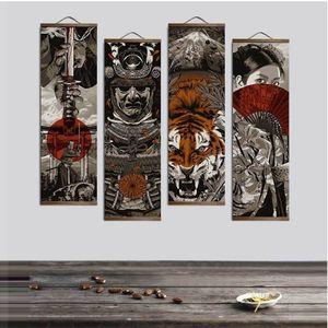 Japon Ukiyoe HD Tuval Poster Duvar Resimleri Için Oturma Odası Dekorasyon Boyama Duvar Sanatı Ile Masif Ahşap Asılı Scroll LJ201130