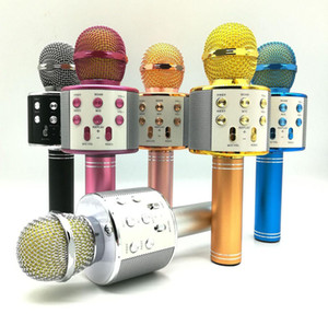 WS-858 Bluetooth Wireless Microphone Handheld Karaoke Mic USB Mini Home KTV For Music Playing Singing Speaker Player WS858 PK Q7 Q9