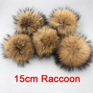 5 unids / lote DIY Bolas de piel de piel de mapache de alta calidad de alta calidad para goraños de sombrero de punto y llavero y bufandas de piel real Pom Poms 201221