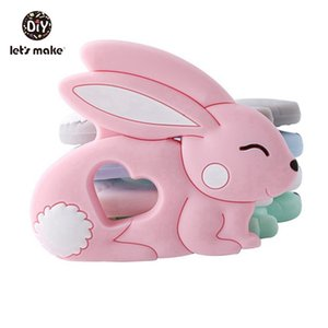 Let's Make Silicone Sweet Rabbit 5PC Silicone Rabbit Pendant DIY Handmade Silicone Pendant DIY Baby Jewelry Making Nursing Charm 201017