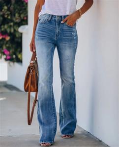 Las mujeres de la pendiente tejanos mediados de cintura con cremallera bootcut pantalones de las señoras Pantalones Casual