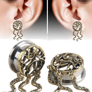 New 316L Stainless Steel Octopus Fashion Design Ear Plugs Hollow Expander Stretche Flesh Tunnels Body Piercing Jewelry