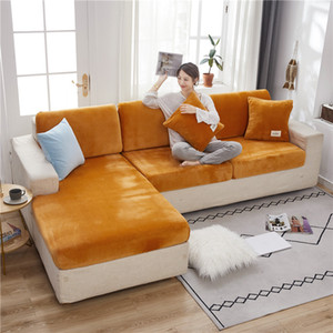 Velvet Sofa Seat Cover Soft Solid Color Seat Cushion Backrest Protector Stretch Couch Slipcovers Furniture Protector Y1228