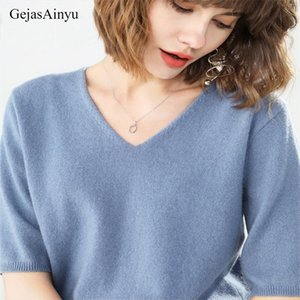 GejasAinyu2020new women sweaters cashmere sweater women knitted pullover sweter Short sleeve V neck winter tops pull femme