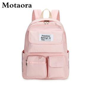 Wasserdichte Nylon-Schultasche des Motaora-Mädchens Große Kapazitäts-Mode-Schultaschen für Student 2021 Neue Casual Ray Rucksack Weibliche Y0119
