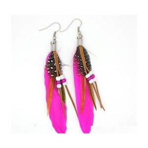 Nuevas mujeres Pendientes de plumas Colorido Pierced Cangle Bead Pendiente Fashion Ladies Girls Buena Joya Sqclxz Beauty888